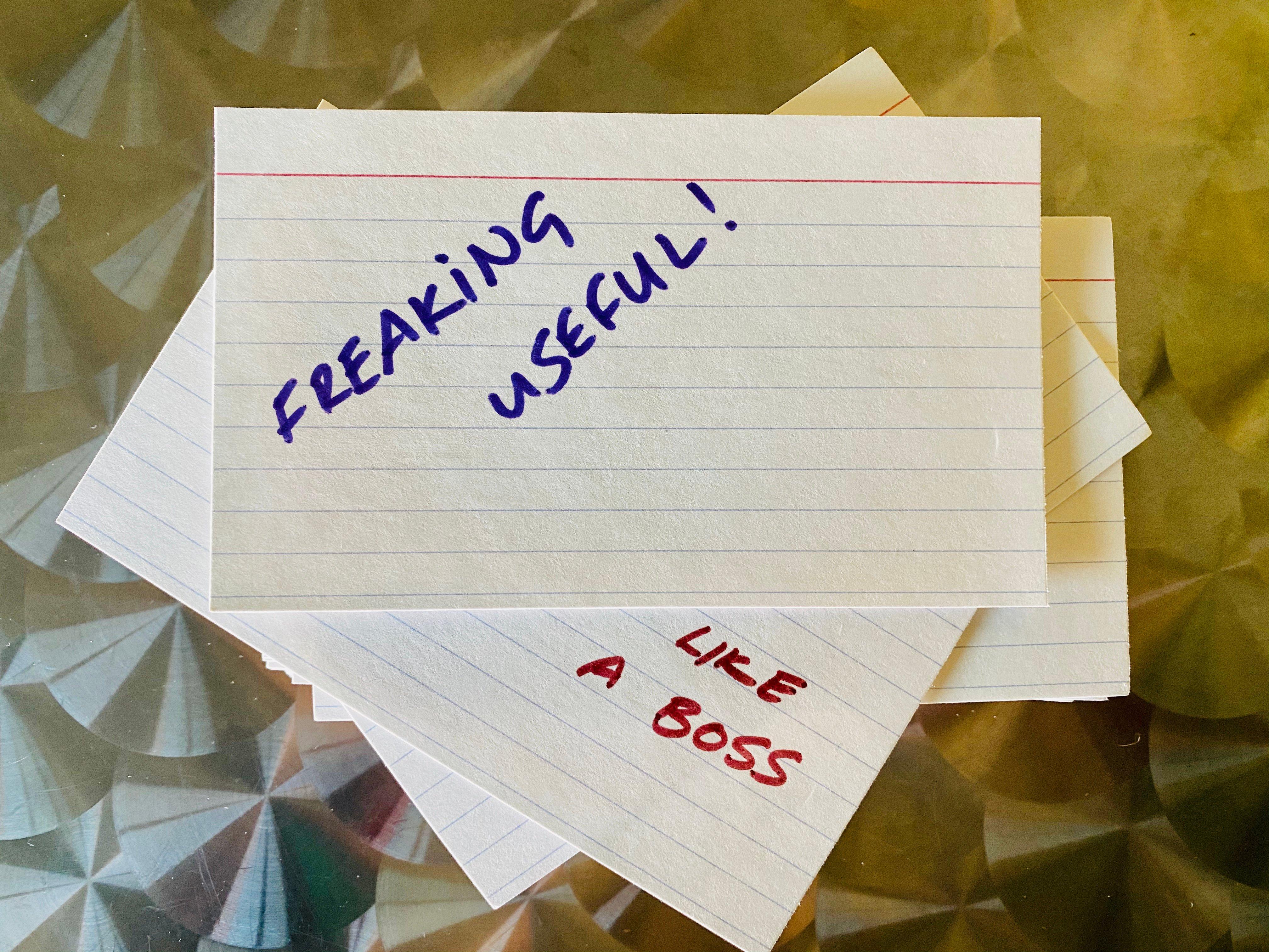 Very useful notecards